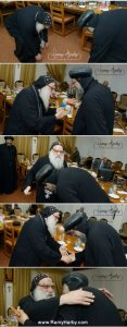 First Meeting of H.E. Metropolitan Pachomios and Pope Elect H.G. Bishop Tawadros.  The mutual love and respect is so clear.