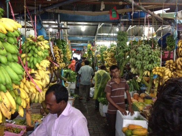A local market selling mostly bananas and some other exotic fruit from the region. We tried some of the bananas and tasted some spices.