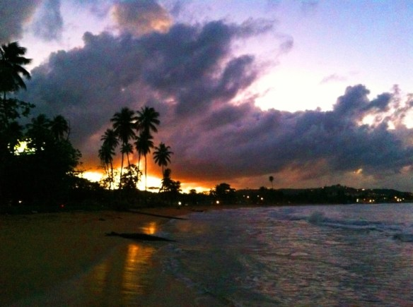 Sunset from Parque Damaso Riveria's beach in Puerto Rico.