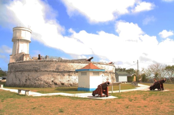 The ship-like front of Fort Fincastle and water-tower that also serves as a lighthouse.