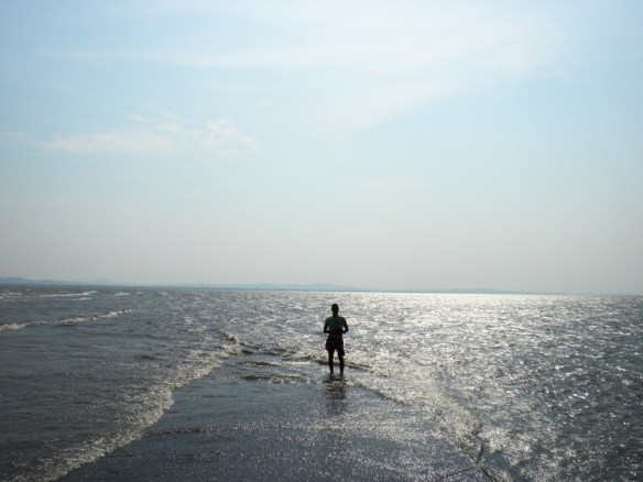 Walking on Nicaragua lake.