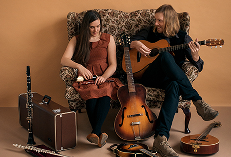 Photo of Josienne Clarke and Ben Walker with instruments