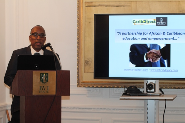 Addressing Wealth Preservation Lecture guests at BVI House, London orgainsed by CaribDirect Multi-Media and Affinity Legacy Planning. June 2016