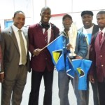 Vice Consul Verne Augustin, Minister Counsellor – Mr Albert Fregis, Captain Darren Sammy, Bertram Leon, Darby Etienne, wicketkeeper-batsman Johnson Charles. Photo courtesy CaribDirect