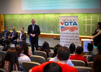 Chris Bell addresses young voters at the Houston Mayoral Candidate Forum