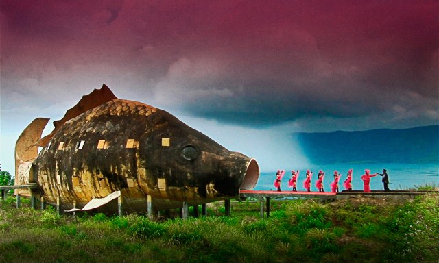 One of the many surreal moments in Joshua Oppenheimer's The Act of Killing