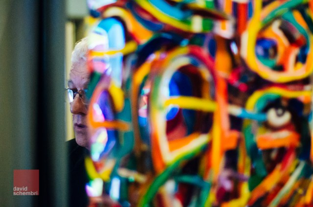 Artist Raymond Pitrè reflected in one of his works Photo: David Schembri