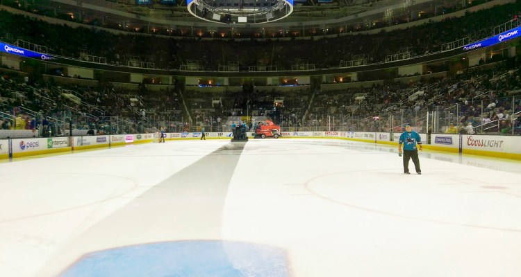 SAP Center from the ice