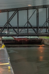 The barge stopped just at the lock entrance and then the bottom fell out!