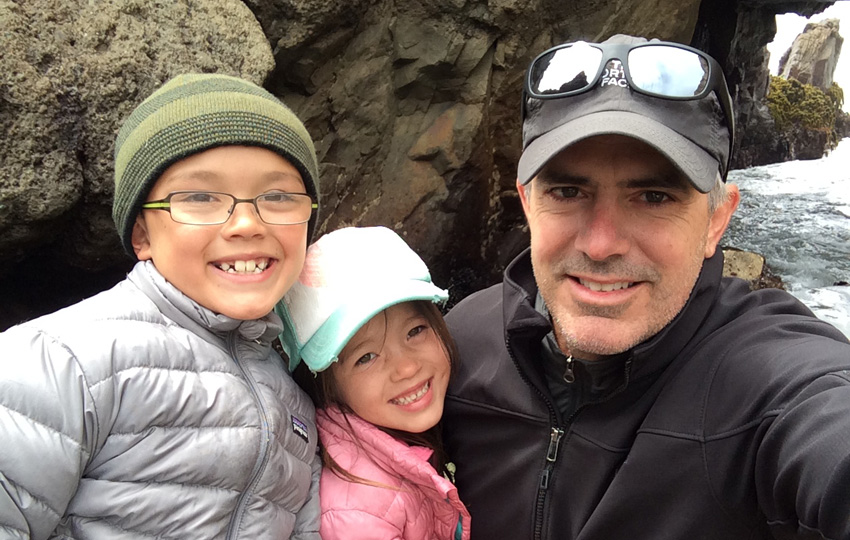 Family selfie at Pfieffer Beach, Big Sur