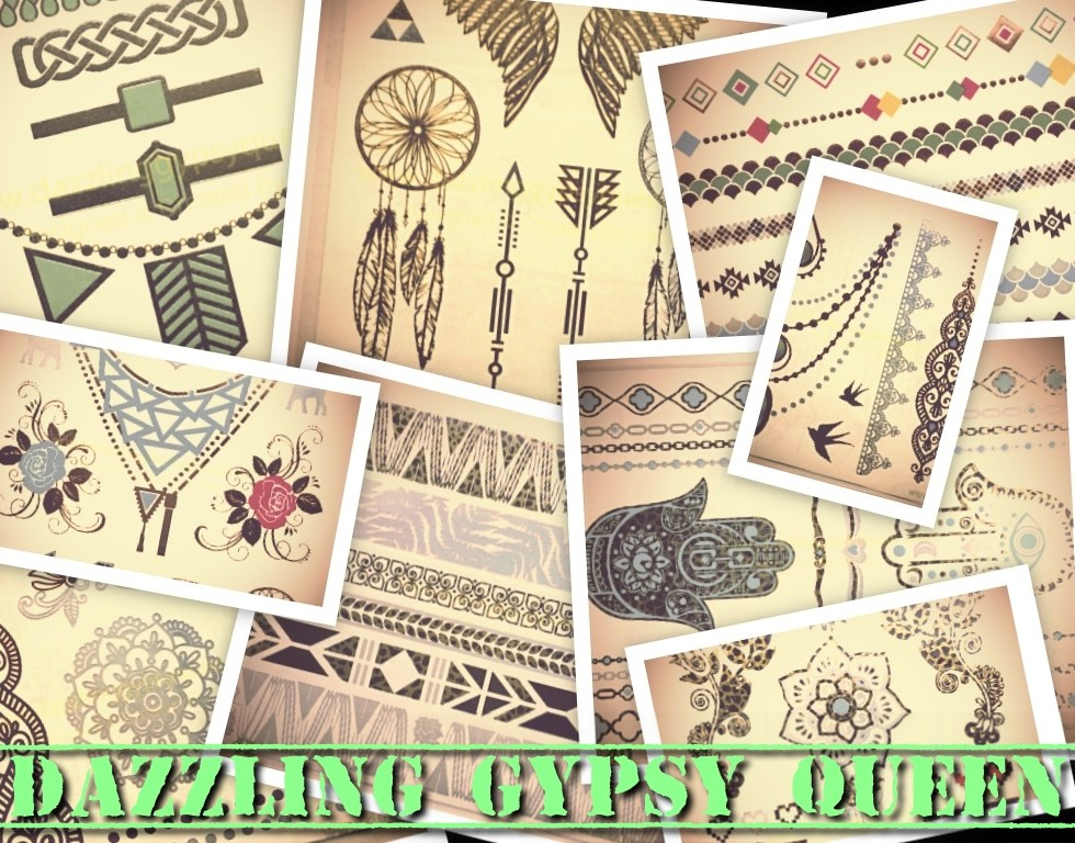 Flash tattoo - colored - metallic - Dazzling Gypsy Queen