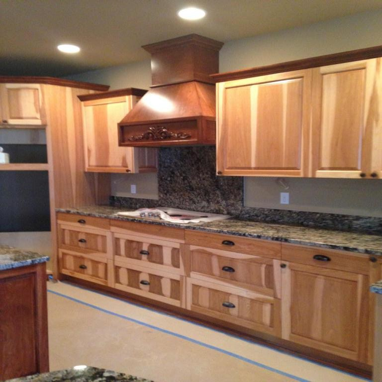 Hood cabinet and counter tops installed