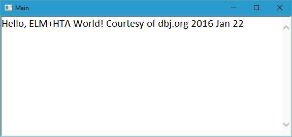 ELM prog. lang., compilation target running locally on Windows 10