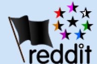 "A Black flag and the 8 tendencies of anarchism in the form of bi-coloured stars, surrounding the all-black ""Anarchism without Adjectives"" star. Below it ""reddit"" is written."