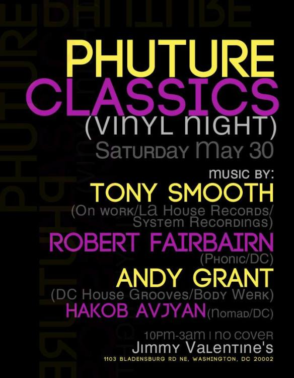 Phuture Classics (Vinyl Night) with Tony Smooth, Robert Fairbairn, Andy Grant & Hakob Avjyan at Jimmy Valentine's Lonely Hearts Club