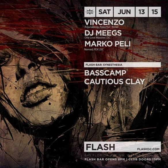 Vincenzo, DJ Meegs and Marko Peli at Flash, with Synesthesia in the Flash Bar