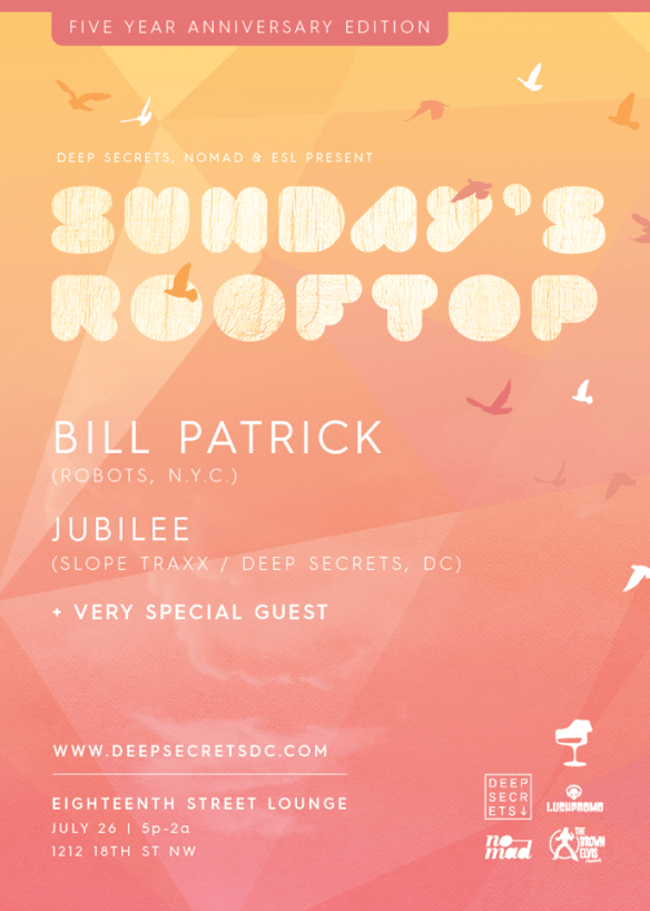 Sundays Rooftop with Bill Patrick, Jubilee and Special Guest on the Patio at Eighteenth Street Lounge