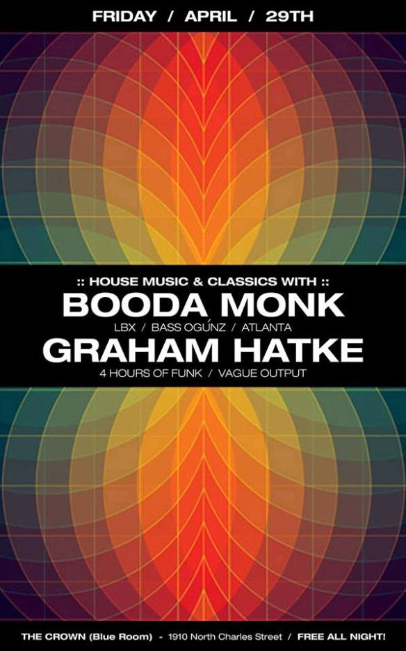 House And Classics with Booda Monk and Graham Hatke at The Crown, Baltimore