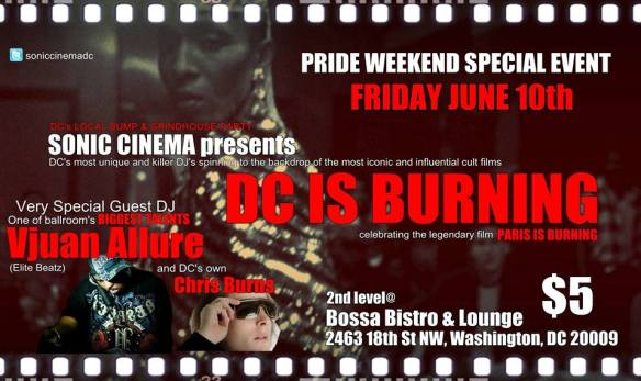 Sonic Cinema presents DC is Burning with Vjuan Allure & Chris Burns at Bossa Bistro & Lounge
