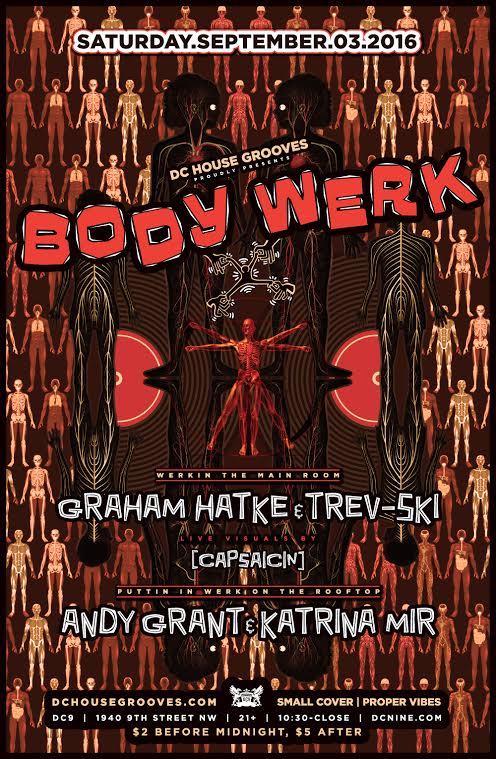 Body Werk with Graham Hatke, Trevor Keen, Andy Grant & Katrina Mir with visuals by [capsaicin] at DC9 Nightclub