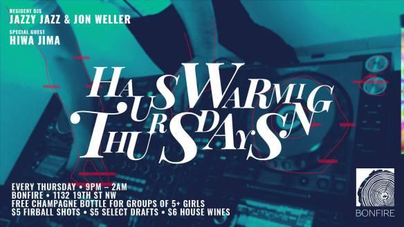 Hauswarming Thursdays with Jazzy Jazz, Jon Weller and Hiwa Jima at Bonfire