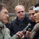 Nguyễn Tiến Trung trả lời phóng viên trong tang lễ cụ Hoàng Minh Chính