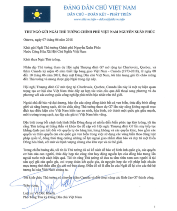 Open Letter to Vietnam PM G7 Summit