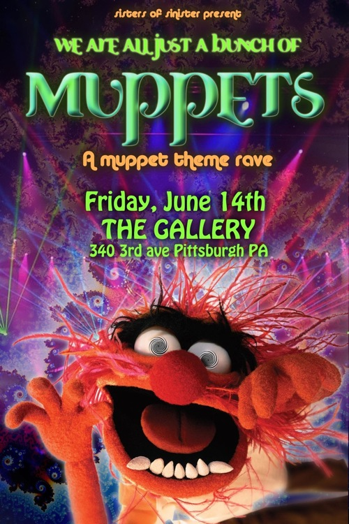 muppet rave flyer - front