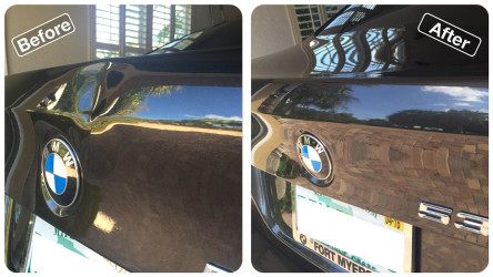 Dent repair on car trunk
