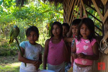 ...durante nuestra visita a una comunidad kichwa al borde del Río Napo.
