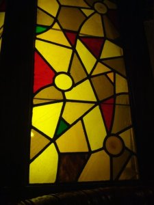 arty stained glass windows at Barone's - photo by The Jab, 2013