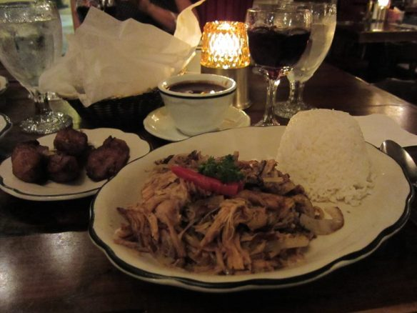 ropa vieja with maduros (sweet plantains) and black beans - photo by Dean Curtis, 2011