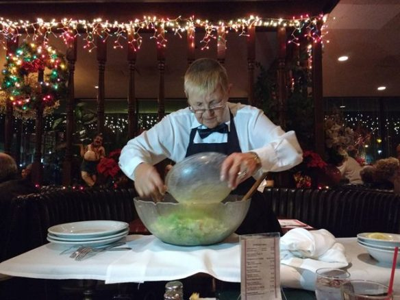 our waitress Lisa preparing tableside Caesar salad - it was delicious! -  photo by Dean Curtis, 2015