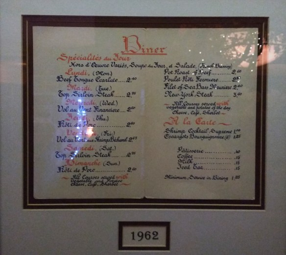 1962 menu - photo by Dean Curtis, 2016