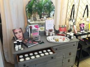 Ripped Bodice makeup display