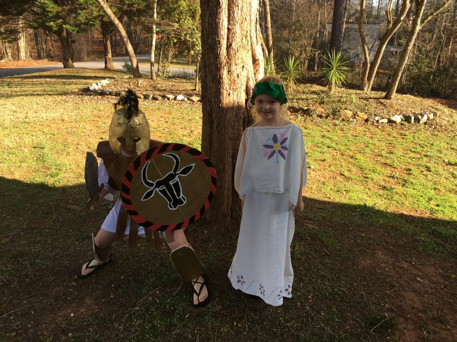 Grecian hoplite and girl
