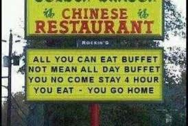 all you can eat buffet not mean all day buffet. you no come stay 4 hour. you eat. you go home.