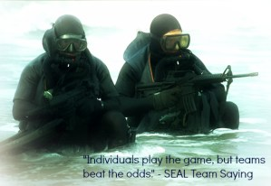 """""""Individuals play the game, but teams beat the odds."""" - SEAL Team Saying"""