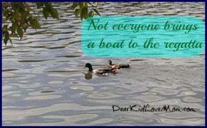 Ducks on the river; not everyone brings a boat to the regatta