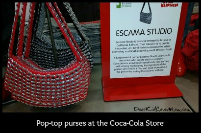 Purses made from recycled pop-tops. Coca-Cola Store. DearKidLoveMom.com