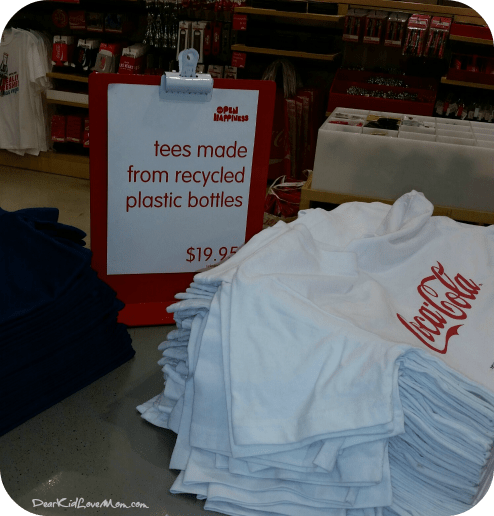 T-shirts made from recycled bottles. Coca-Cola. DearKidLoveMom.com