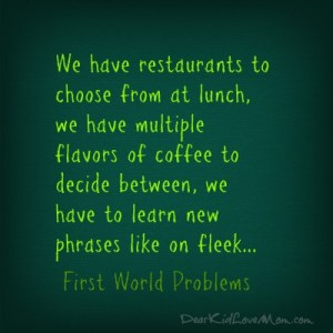 We have restaurants to choose from at lunch, we have multiple flavors of coffee to decide between, we have to learn new phrases like on fleek...First World Problems. DearKidLoveMom.com