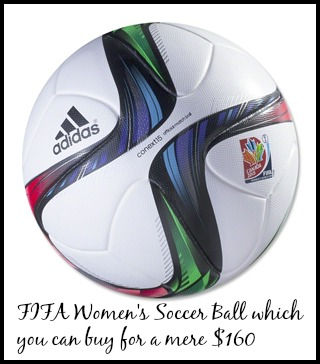 FIFA Women's World Cup 2015 soccer ball for $160. What a steal... DearKidLoveMom.com