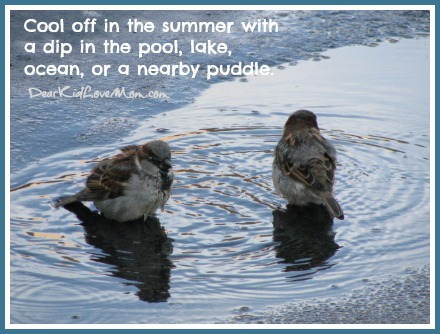 Cool off in the summer with a dip in the pool, lake, ocean, or a nearby puddle. DearKidLoveMom.com