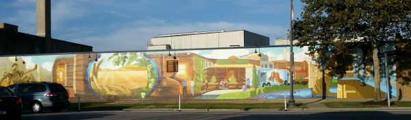 Samuel Adams ArtWorks Mural. Depiction of the history of brewing in Cincinnati. Can you find the hidden elements? DearKidLoveMom.com
