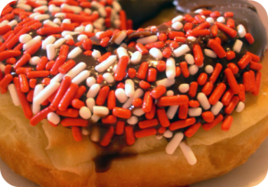Halloween decorated donut. Because fall is a great time for donuts. DearKidLoveMom.com