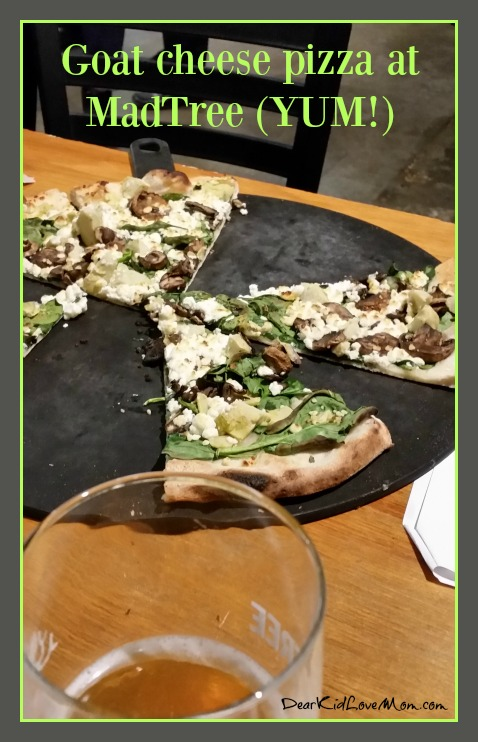 Goat Cheese Pizza at MadTree. Ohio River Foundation talks about the Ohio River at MadTree Brewery. DearKidLoveMom.com