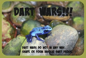 Dart Wars do not in any way shape or form involve dart frogs. DearKidLoveMom.com
