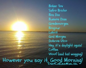 Good morning Boker Tov Safro Bricho Bon Dia Buenos Dias Goedemorgen Bonjour Labrit God Morgen Dobroe Utro Hey, it's daylight again! Coffee. Woof (and tail wagging). However you say it, Good Morning. DearKidLoveMom.com
