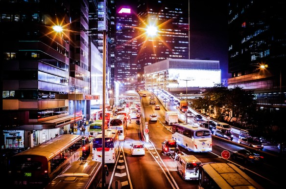 City highways in Hong Kong at night